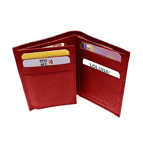 LOLUNA® Etui Porte Carte de crédit RFID - NFC- 3 Volets - 9 Cartes - Mini Portefeuille - Compact - Homme/Femme - Cuir Vachette Véritable Rouge