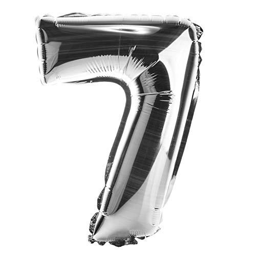 Deggelbam ballonnen, cijfers, 0-9, XXL, 80 cm, met opblaasbaar, geschikt voor lucht en helium, glanzend zilver 80 cm hoch 7