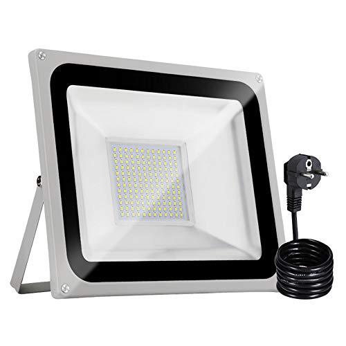 Bellanny 100W Focos LED Exteriores con Enchufe, Proyector LED Blanco Frío IP65 Impermeable 10000LM 6500K para Iluminación de Seguridad, Jardín, Garaje, Patio [Clase de eficiencia energética A+]