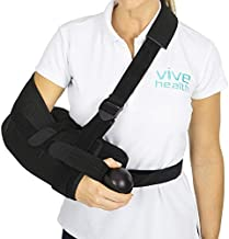 Vive Shoulder Abduction Sling - Immobilizer for Injury Support - pain Relief Arm Pillow for Rotator Cuff, Sublexion, Surgery, Dislocated, Broken Arm - Brace Includes Pocket Strap, Stress Ball, Wedge