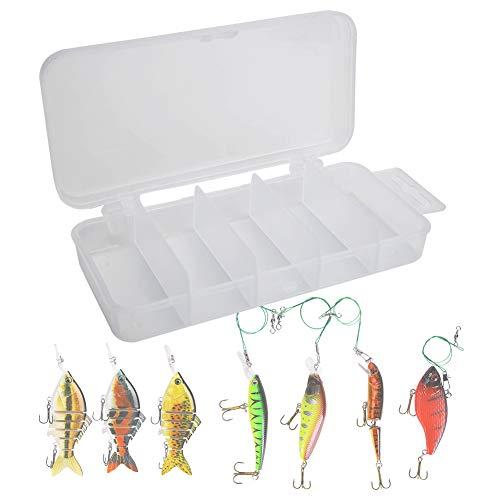 Caja de Aparejos de Pesca, Blanco Transparente 14.5x6x2.5cm 5PCS Caja de Pesca de plástico, Caja de señuelos de Pesca, para Pesca Salvaje Pesca en el mar(008 Five Grid Box)