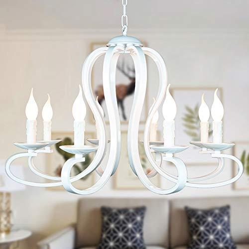XY&XH lampadario Lampadario moderno a candelabro Illuminazione stile nordico americano a corredo Infissi Bianco/nero antico in ferro battuto Illuminazione domestica E14, bianco, 6 teste