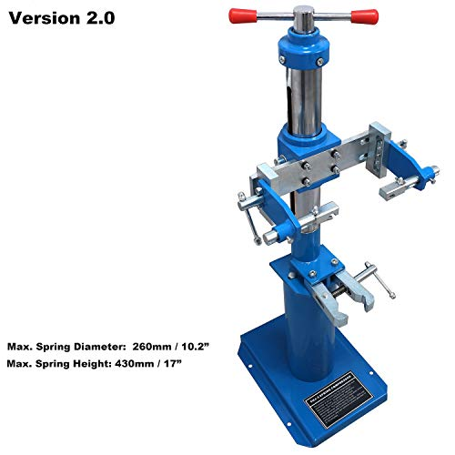 HTTMT- Heavy Duty Hydraulic Vehicle Auto Spring Compressor Hand Operate Spring Coil Compressor Jack Compression Strut Rising Handle (Maximum Height 16.92' (430 mm) [P/N: ET-CAR-FIX003A-Blue]