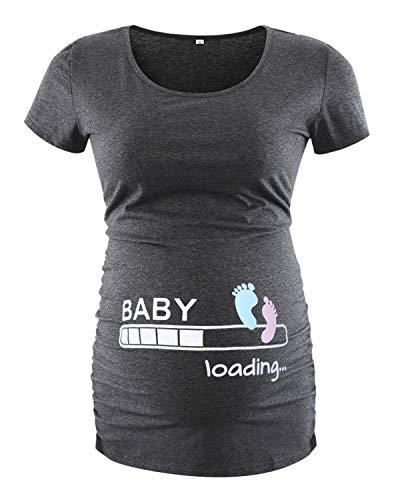 Love2Mi Damen Kurzarm Umstandsshirt Mutterschaft Klassische Seite Geraffte T-Shirt Tops Mama Schwangerschaft Kleidung, Knöchelprint, S