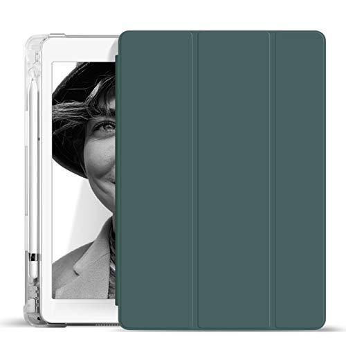 ZOYU - Funda para iPad de 9,7 pulgadas, 2018/2017, con soporte para lápiz compatible con fundas inteligentes transparentes para Apple iPad 9,7 de 5ª/6ª generación, suave TPU (verde oscuro)