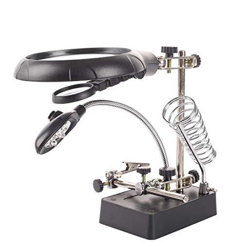 ZJN-JN Magnifiers Metall Lupe 10 mal mit LED-Leuchten Multi-Funktions-Mainboard Reparatur Workbench 5 mal HD Repair Station Handy-Reparatur-Lupenleuchte Handgeschnitzte Lesehilfen