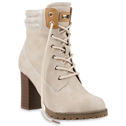 stiefelparadies Damen Stiefeletten Schnürstiefeletten Schuhe 145558 Creme Carlet 38 Flandell