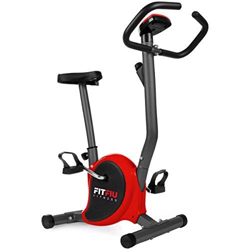 FITFIU Fitness BEST-100 Bicicleta estática compacta color Rojo, regulable en 8 niveles de resistencia, sillín ajustable en altura y pantalla LCD, Entrenamiento fitness en casa