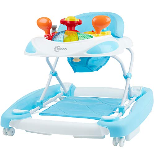 Bieco Baby Lauflernhilfe | 3in1 | Gehfrei Baby ab 6 Monaten | Baby-Walker | Spielcenter mit Aktivität&Melodien | Blau-Weiß | Kippsicher und Höhenverstellbar | Kinder lauflernhilfe