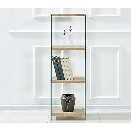 sdm Estantería de diseño BANAK, Madera, Cristal Templado, 40x30x125 cms