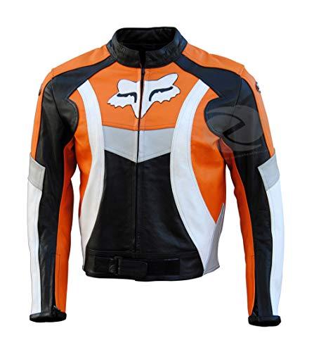 Motorrad Lederjacke schweren Fahrrad Stil Jacke mit ce Rüstung der Rocker Motorrad-Schwarz-Orange Cafe Racer Jacke zens Leder