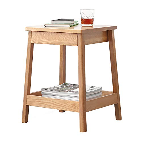 Wooden 2 Tier Coffee Side Tables Modern Oak Living Room End Tables Sofa Small Snack Table for Office Furniture