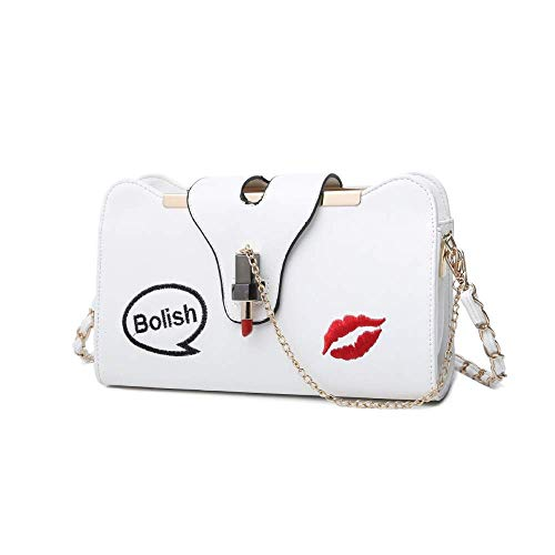 Crossbody Bags Shoulder Bag for Women Quilted Shoulder Bag,Women's PU Shoulder Bag,Fashion Joker Lipstick Lock Chain Bag Metal Chain Strap 26 * 9 * 15CM White