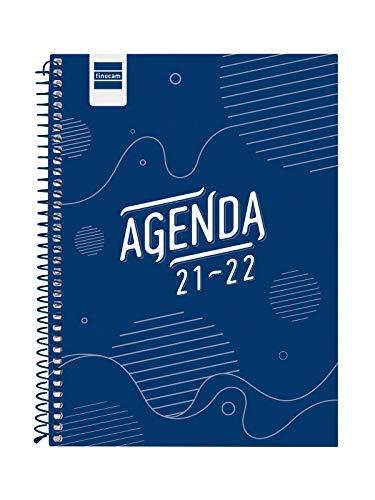 Finocam 645040122 Agenda 2021 2022 Semana vista apaisada Septiembre 2021, Junio 2022 10 meses y Julio/Agosto resumidos 4º, 155x212 Cool Azul...