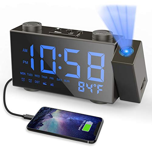 Moskee Projection Alarm Clock Digital Dual Alarm Clocks for Bedroom with FM Radio, Snooze,LED Display Classic Style, Black