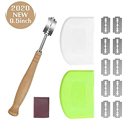 Bread Lame and Dough Scraper Set, 2 Pieces Food-safe Plastic Flexible Dough Bench Cutter, Dough Scoring Knife Tool with 10 Replaceable Razor Blades and Leather Protective Cover, Gift for Artisan Bread