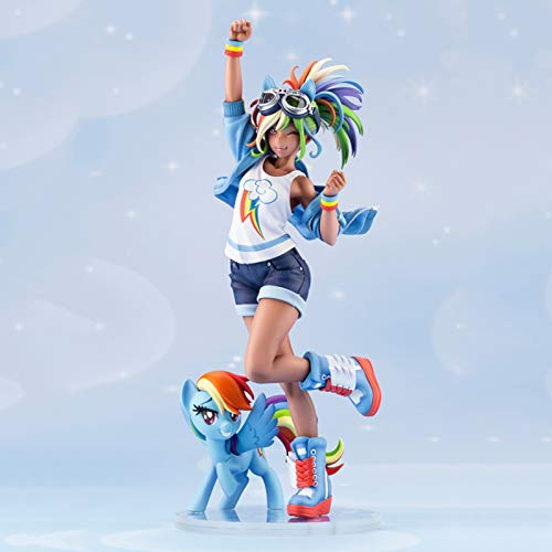 ZH 1/7 My Little Pony: Friendship Is Magic Action Figures, Rainbow Dash Collectible Model Statue, Anime PVC Environmental Protection Materials Handmade Ornaments, Adults Children Gift
