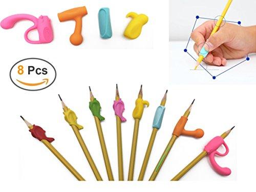 Bleistift Griffe, Louzedaya Bleistift Griffe Silikon Universal-Ergonomische Stil für Rechtshänder Linkshänder Kinder, Schüler Erwachsene (8 Stück)