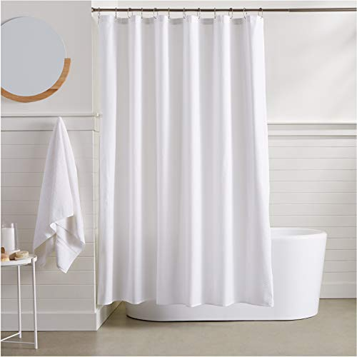 AmazonBasics Waffle Texture Shower Curtain - 72 Inch, White