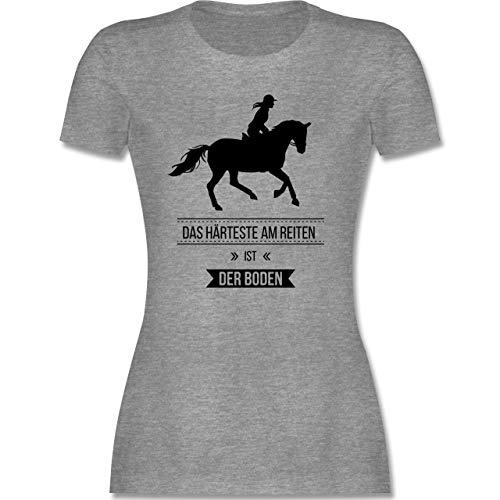 Reitsport - Das Härteste am Reiten ist der Boden - S - Grau meliert - Pferde Tshirt Damen - L191 - Tailliertes Tshirt für Damen und Frauen T-Shirt