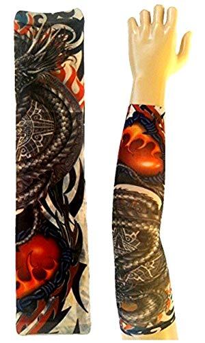 KIRALOVE Tätowierungshülse - hülse - gefälschte tätowierung - Bild - Drache - brennendes Herz - umgeben - tätowierung - halbe hülse - stammes - - ursprüngliche Geschenkidee - w20