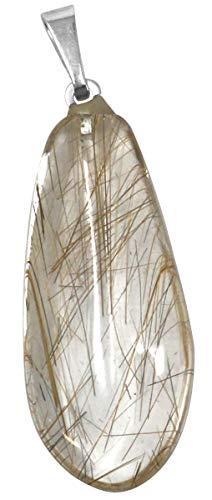 Rutil Quarz Tropfen Anhänger, 2,5 bis 3 cm, Rutilquarz mit Einschlüssen Rutilnadeln, Nadelstein, Venusstein