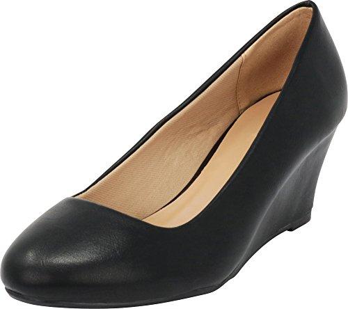 Cambridge Select Women's Classic Slip On Ballet Mid Wedge Heel Pump (7.5 B(M) US, Black PU)