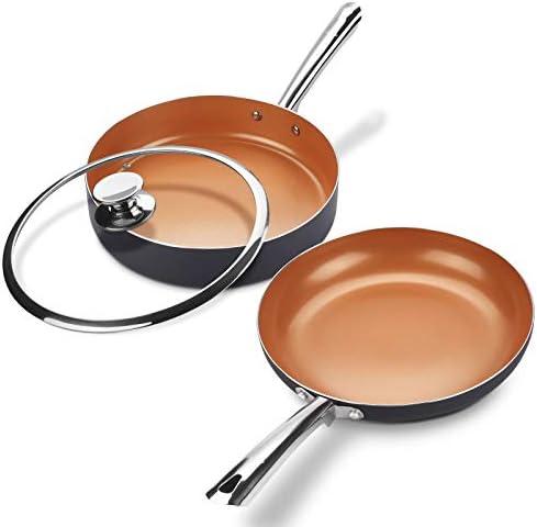 KUTIME Cookware Set 3pcs Nonstick Pots and Pans Set Ceramic Coating Frying Pan Grill Pan Sauce product image
