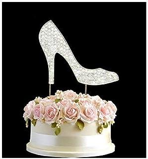 Strass Cristal Chaussures à Talon Haut Argent Mariage Gâteau Numéro Pic Joyeux Anniversaire Anniversaire Gemmes Strass Déc...