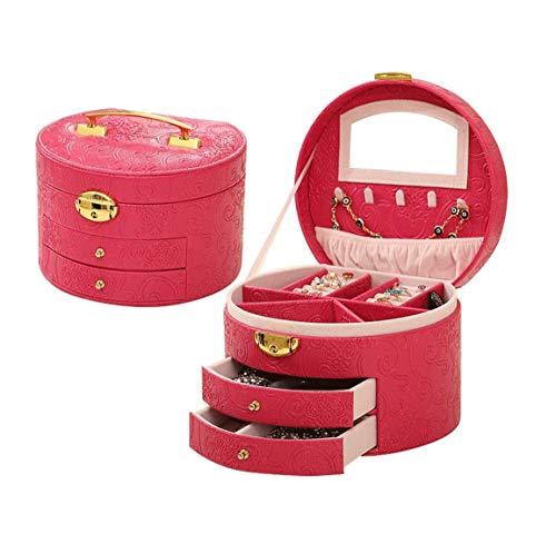SMSOM Caja de joyería, Organizador de joyería Mediana de Piel sintética, Regalo de la Vendimia para Mujer Caja de Almacenamiento Caja de joyería. (Color : Rose Red)