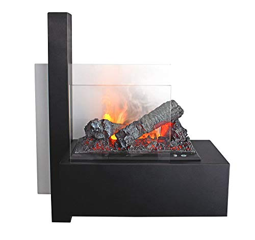 GLOW FIRE Wall Elektrokamin Opti-Myst - 3D Wasserdampf Feuer, elektrischer Wandkamin mit Fernbedienung | Regelbarer Flammeneffekt, 65 cm, Weiß & Schwarz