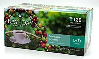 Day to Day Colombian Supreme Single Serve Coffee Cups, Fits Keurig K Cup Brewers, Box of 120 (03920)