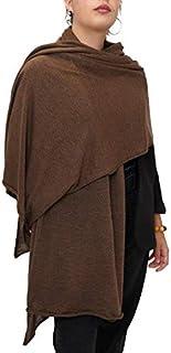 Fantasie Terrene Stola Donna lavorata a maglia fine, in Misto Lana di alta qualità, Made in Italy. Colore Marrone.