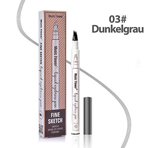Augenbrauenstift Wasserfest - Waterproof Microblading Eyebrow Pen mit Tips Wasserfester Langenhaltend für Natürlich Augenbrauen Schminke (Dunkelgrau)