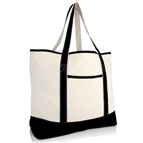 22' Extra Large Zippered Shopping Tote Grocery Bag with Outer Pocket in Black