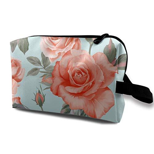 XCNGG Reise Make-up Aufbewahrungstasche Tragbare Toilettenhandtasche Kleine kosmetische Organizer-Tasche für Frauen & Männer Rote Rosen blühen