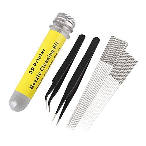 Jopto Kit de limpieza de boquillas de impresora 3D de acero inoxidable, incluye 10 agujas de 0,4 mm, 10 agujas de 0,35 mm y 1 pinza angular, 1 pinza recta para impresora 3D, juego de 22
