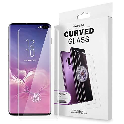 AICase Protector de Pantalla para Samsung Galaxy S10 Plus,Trabajar con ID de Huella Digital,Cristal Templado UV de Cobertura para Samsung Galaxy S10 Plus (1 Pieza)