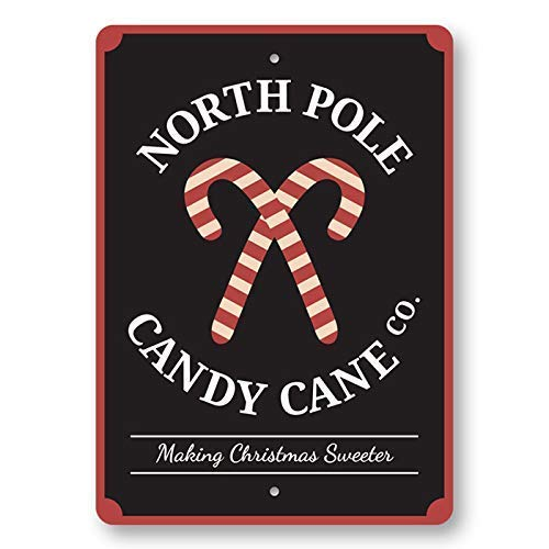 JUCHen North Pole Candy Cane Co Metal Aluminum Sign Wall Decor Man Cave Bar US United States Rustic