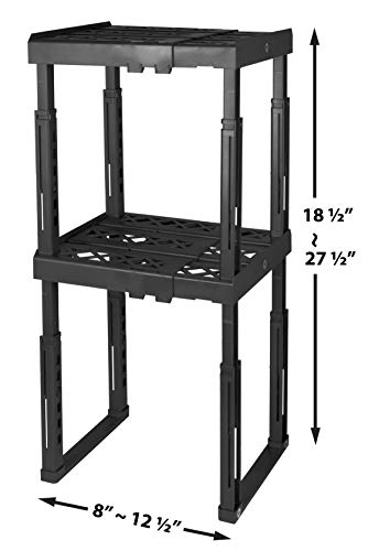 "Tools for School Locker Shelf. Adjustable Width 8"" - 12 1/2"" and Height 9 3/4"" - 14"". Stackable and Heavy Duty. Ideal for School, Work and Gym Lockers. Double (Black)"