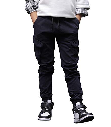 CAMLAKEE Hosen für Jungen, Joggginghose mit elastischem Bund, Kinder Slim Fit Cargohose aus Twil, Marine, 164 / Größe 14