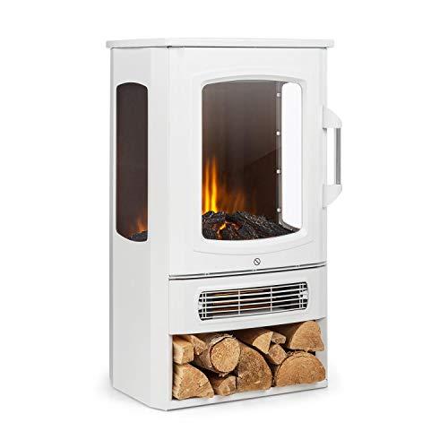 Klarstein Bormio Panorama - Elektrischer Kamin, 1000/2000W, 3-teiliges Panorama-Sichtfenster, Thermostat, zuschaltbare Heizung, integrierter Überhitzungsschutz, Stauraum für Holzscheite, weiß