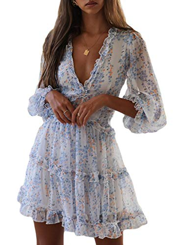Dokotoo Womens Sun Casual V Neckline Long Sleeve Open Back Floral Print Mini Dress Bohemian Fashion Skater A Line Ruffle Hem Beach Dresses White X-Large