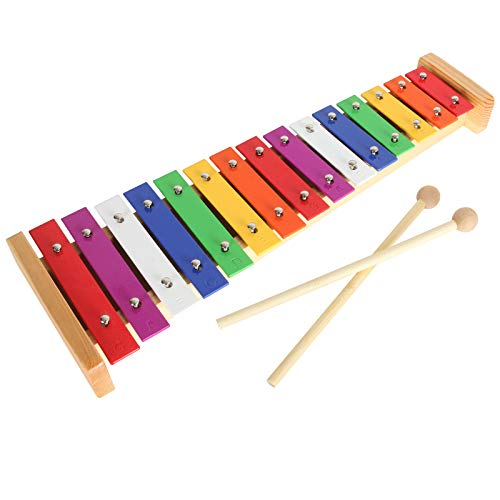 15 Note Toddler Xylophone Multi-Colored Metal Bars Glockenspiel Resonator Bells with 2pcs Mallets