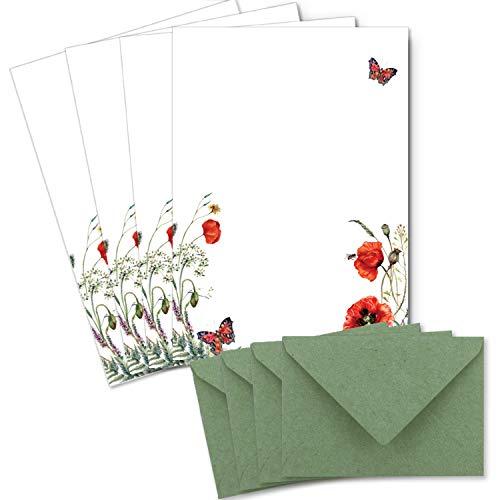 25 Briefbogen-Sets DIN A4 - Naturpapier Motiv Mohnblume - mit Briefumschlägen DIN C6 in Kraftpapier Grün Briefpapier bedruckbar ideal für Hochzeitseinladungen