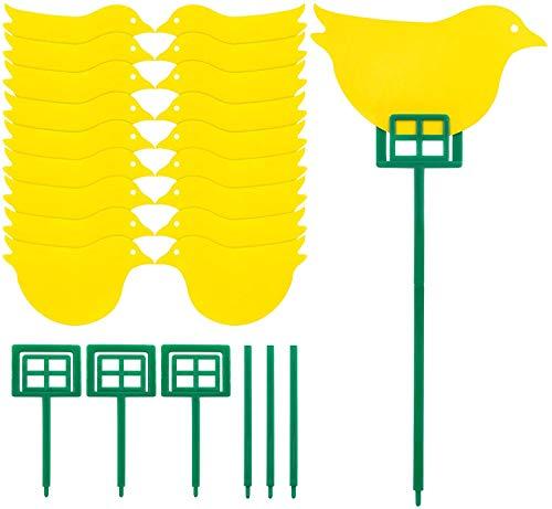 JAVOUKA Paquete de 18 trampas para gnat dobles trampas adhesivas amarillas para plantas voladoras como moscas blancas, incluye 3 postes de apoyo y 15 lazos de torsión (bonito diseño de pájaros)