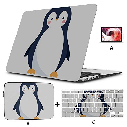 MacBook Air Case Penguin White Black Handsome Animal Laptop Cover Hard Shell Mac Air 11'/13' Pro 13'/15'/16' with Notebook Sleeve Bag for MacBook 2008-2020 Version