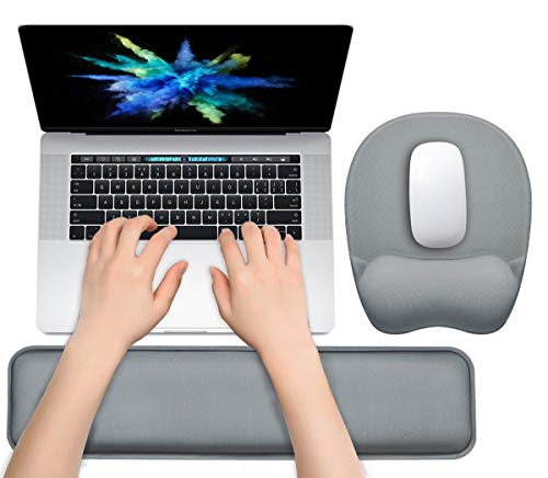 Keyboard Wrist Rest Mouse Pad Wrist Support for Computer Desktop/Laptop/Notebook Memory Foam Keyboard Pad Ergonomic Hand Rest Wrist Cushion for Home Office Gaming Easy Typing Pain Relief - Grey