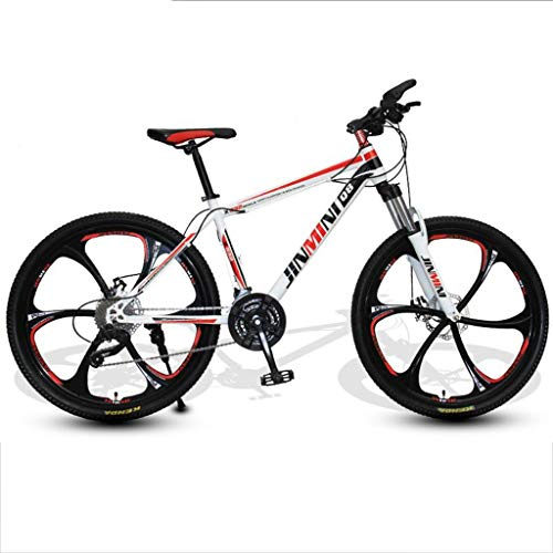 Dsrgwe Mountain Bike/Bicycles,Carbon Steel Frame,Front Suspension and Dual Disc Brake,26inch Mag Wheels (Color : White+Red, Size : 27 Speed)