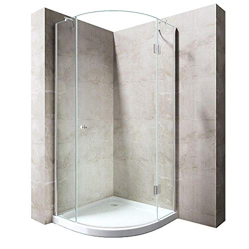 Durovin Bathrooms Quadrant Frameless Shower Enclosure - Hinged Door Corner Entry - 8mm Safety Clear Glass - with Anti Slip Acrylic Tray + Waste Kit (900 x 900mm)